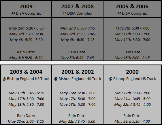 Tryout Schedule (birth year)